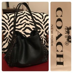 COACH Black Bandana Rivets Edie Bag